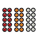 30 Pcs TMH 3/4' Inch Surface Mount 10 pcs Amber + 10 pcs Red + 10 pcs White LED Clearance Markers Bullet Marker lights, side marker lights, led marker lights, led trailer marker lights