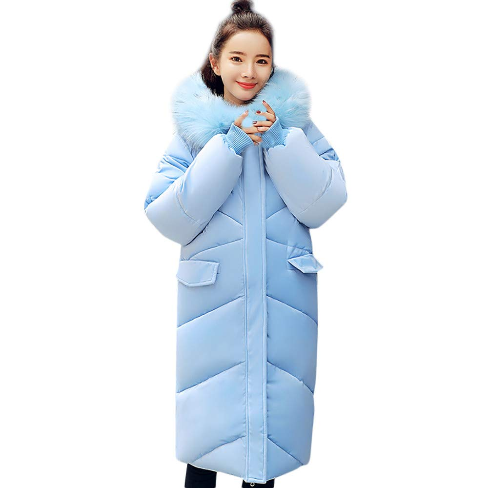 YKARITIANNA Women Quilted Outerwear Faux Fur Hoody Coat Long Cotton-Padded Jackets Pocket Coats