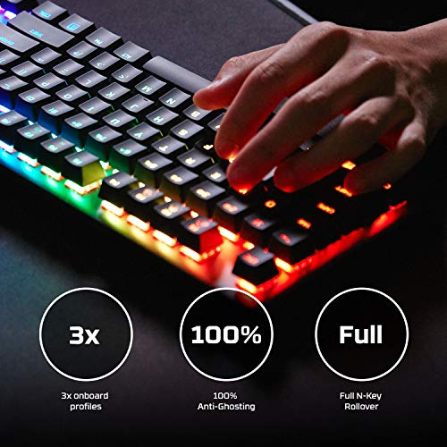 HyperX Alloy Origins - Mechanical Gaming Keyboard, Software-Controlled Light & Macro Customization, Compact Form Factor, RGB LED Backlit - Clicky HyperX Blue Switch