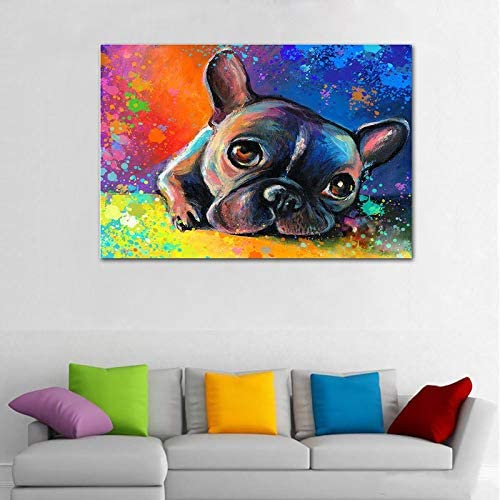 Faicai Art Whimsical Colorful French Bulldog Wall Art Canvas Prints Abstract Animal Paintings Modern HD Printed Oil Painting Home Decor Picture