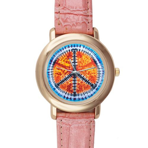 Gifts for girls or ladies Special Peace Sign and Symbol Tie Dye Pattern Pink Leather Alloy High-grade Watch by Peace Sign Watch
