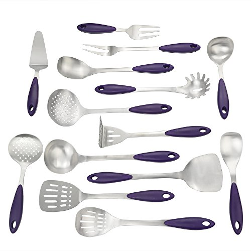 Qsbon Kitchen Cooking Utensil Set, Stainless Steel Cooking Set with Plastic Grip, Set of 14