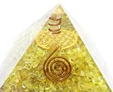 Flower of Life Citrine Copper Crystal Orgone Pyramid for EMF Protection Chakra Balancing Healing Heart Love Booster