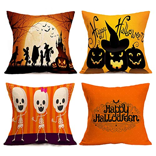Asamour 4 Pack Happy Halloween Theme Home Decorative Pillowcase Halloween Party Saying Burlap Throw Pillow Case Cushion Cover for Home Office 18x18 Inches (4 Pack Halloween-C) -