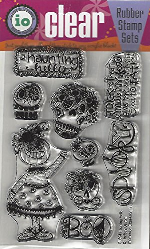 Impression Obsession Haunting Hello Cling Rubber Stamp CL694 -
