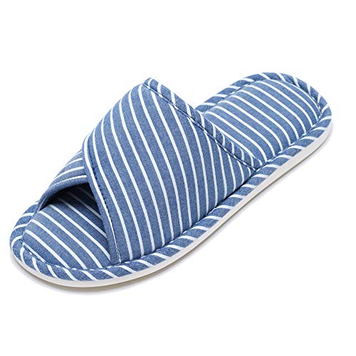 Slippers Comfy Cotton Slippers Foam 77Fine Home Cozy Womens for Girl Toe Open House Faux Blue Strip Men Fur x7q8tw
