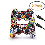 [2 Pack] PS3 Controller Wireless Dualshock Bluetooth Camouflage Game Controller Wireless Dualshock Joystick Vibration Sixaxis Remote Gamepad for PS3 Playstation 3 [Gift 2 Charging-Cable] (Graffiti)