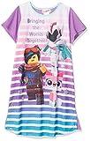 LEGO Big Movie 2, Short Sleeve Girls Pajama Dorm W/Glitter, Purple, 6/6x