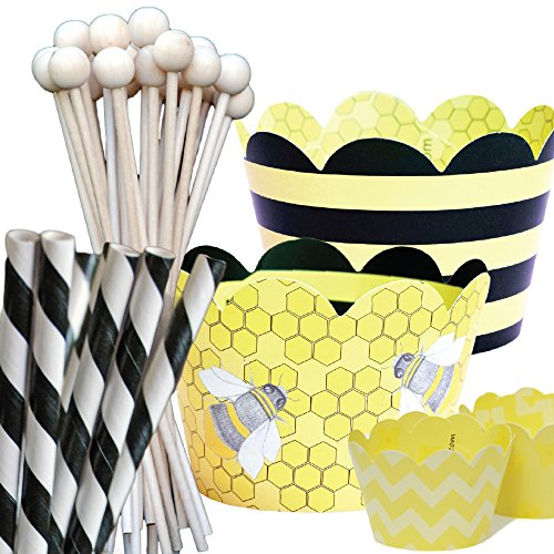 Bumble Bee Theme Baby Shower Party Supplies Pack, 1st Birthday, Confetti Couture, 96 Piece Kit