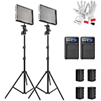 Aputure Amaran AL-528C 528 Led Video Light Panel Studio Lighting Kit with Rechargeable Batteries Pack and Pergear Clean Kit - Pack of 2