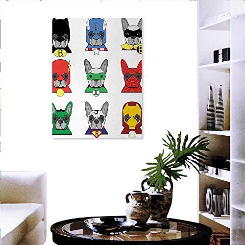 Warm Family Superhero Customize Wall Stickers Bulldog Superheroes Fun Cartoon Puppies in Disguise Costume Dogs Masks Print Canvas Print Wall Art 20