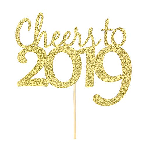 Price comparison product image Cheers to 2019 Cake Topper - Gold Glitter New Year - Class of 2109 Decorations Supplies Photo Prop