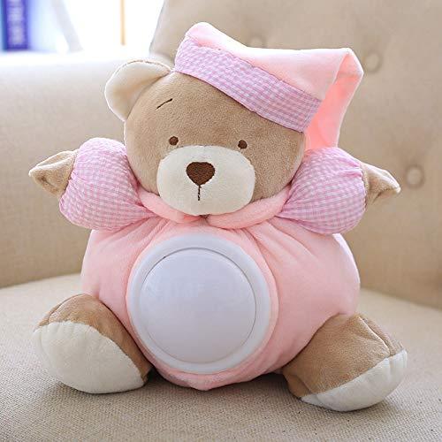 Coiny Bebe 25cm Teddy Bear Musical Light Plush Dolls Pat Sleeping Comfort LED Night Light Toys for Children Gifts Pink