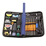 TekWorthy Soldering Iron Kit, Full Set, 70W, 110V, Soldering Iron, Tips, Tweezers, Solder Sucker, Soldering Wick, Rosin, 25-in-1, non-toxic soldering gun, and all tools in a case by Tripworthy