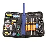 TripWorthy TekWorthy Soldering Iron Kit, Full Set, 70W, 110V, Soldering Iron, Tips, Tweezers, Solder Sucker, Soldering Wick, Rosin, 25-in-1, non-toxic soldering gun, and all tools in a case