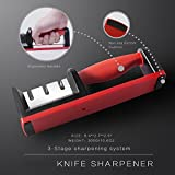 Kitchen Knife Sharpener,Unique 3-Stage Knife Sharpening Tool Helps Repair, Restore and Polish Blades (black)