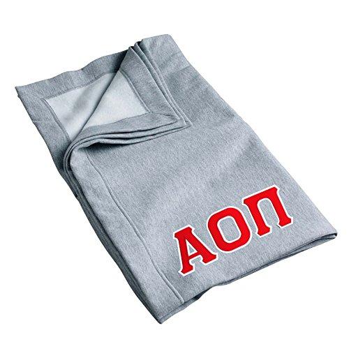 Alpha Omicron Pi Sweatshirt Blanket with Twill Greek Letters (Grey)