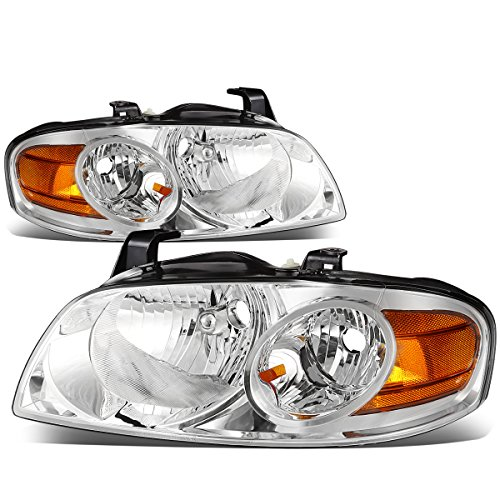 For Nissan Sentra B15 5th Gen Pair of Chrome Housing Amber Corner Replacement Headlight Lamp