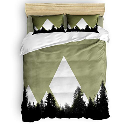 Forest Printed Pillowcase Wake - Arts Language Home Duvet Cover Set Twin Size for Kids/Adults/Teens Forest Adventure Soft 4 Pcs Bedding Set with Duvet Cover, Fitted Sheet, Pillowcases