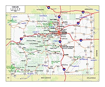 Amazon.com: Home Comforts Roads and Highways map of Colorado ...