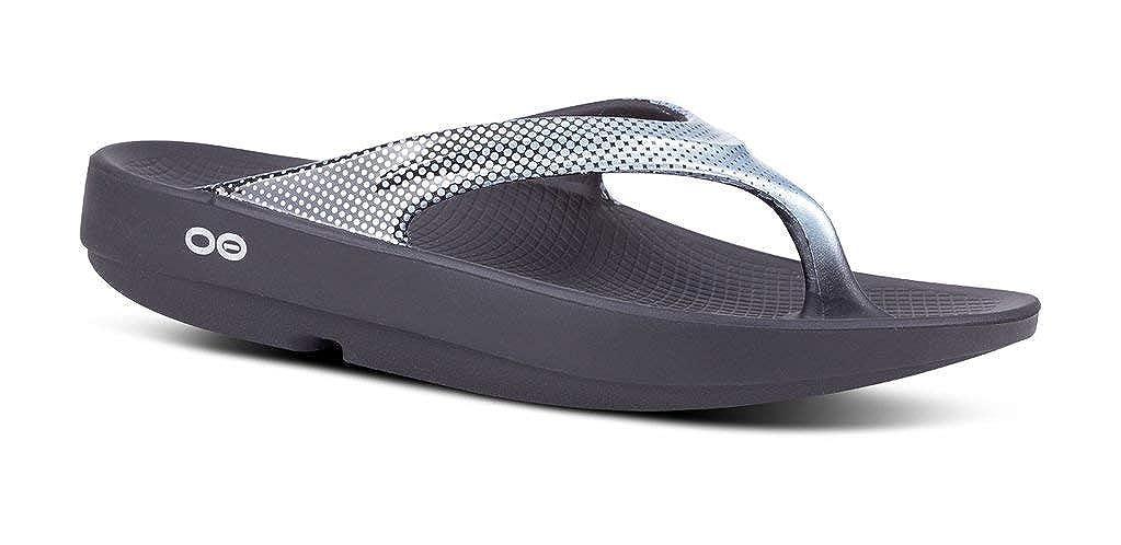 Black Pixel Platinum OOFOS Women's OOlala Thong Flip Flop