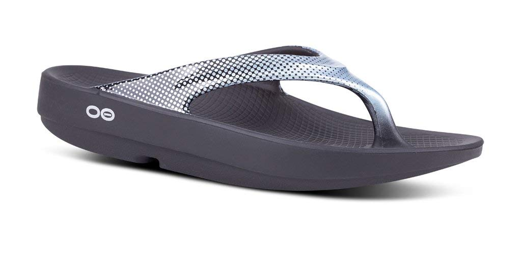 OOFOS - Women's OOlala Satin - Post Run Sports Recovery Thong Sandal - Black/Pixel Platinum - W16