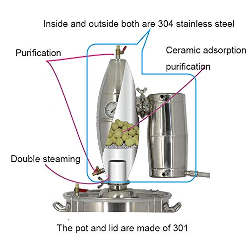 TOPCHANCES Household 50L Stainless Alcohol Sistiller Beer Wine Making Boiler by TOPCHANCES (Image #3)