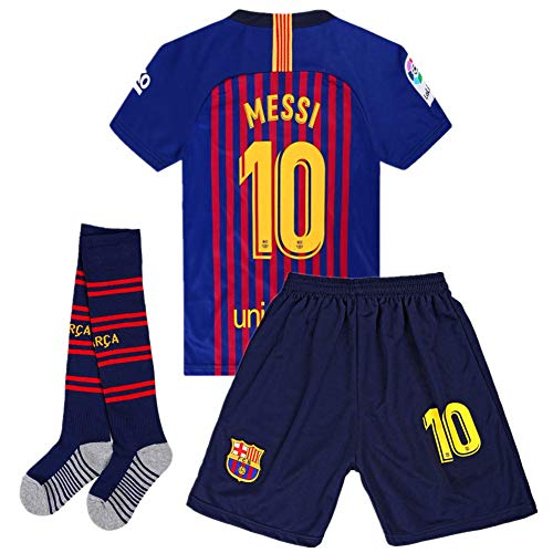 Giskoel Messi #10 Barcelona Home Kids/Youth Socce Jersey 2018-2019 Matching Shorts,Socks Color Blue/Red Size 28 (Barcelona Jersey 2018 2018)
