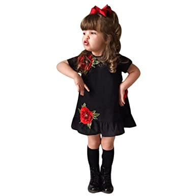 9bc874f59 Staron Baby Girl s Rose Floral Princess Party Dress Outfits Clothes ...