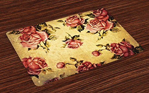 - Ambesonne Rose Place Mats Set of 4, Old Fashioned Victorian Style Rose Pattern with Dramatic Color Boho Art Design, Washable Fabric Placemats for Dining Room Kitchen Table Decor, Mustard Pink