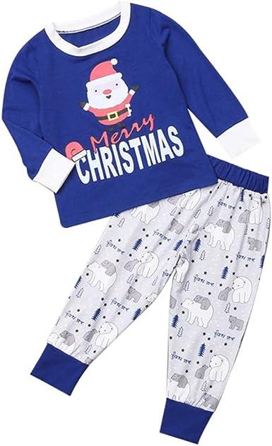 LONMEI Pijamas de Navidad Familia - Impresión Conjunto de Top ...