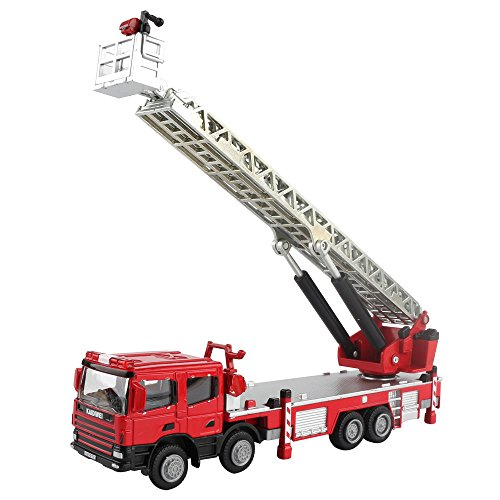 50 Scale Diecast Metal (KDW 1:50 Scale Diecast Ladder Fire Truck Construction Vehicle Cars Model Toys)