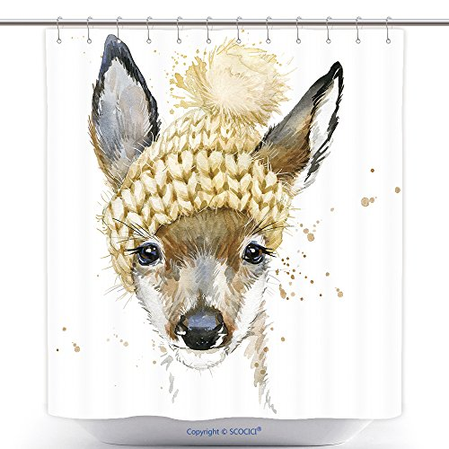 Jelly Splash Costume (Antibacterial Shower Curtains Cute Forest Deer T Shirt Graphics Watercolor Deer Illustration With Splash Watercolor Textured 357009110 Polyester Bathroom Shower Curtain Set With Hooks)