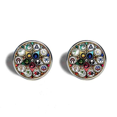 Art Glass Cufflinks - Handmade Fashion Jewelry Mana Art Symbol Magic the Gathering Cufflinks Cuff links Cosplay MTG Charm Red