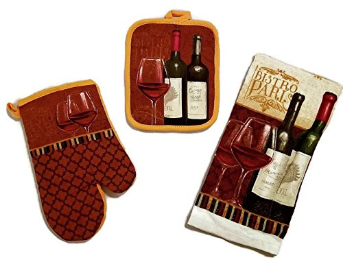 Wine Bottle And Glass Linen 3 Piece Bundle Package Oven Mitt (1) Pot Holder (1) Kitchen Towels (1) (#4323)