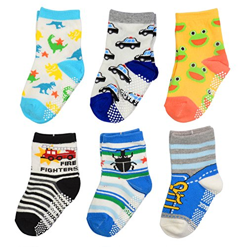 TotMart Boys Toddler 6-Pack Non Skid Ankle Socks, Frog, Bug and Car. (white 4)