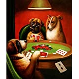 High Quality Polyster Canvas ,the Reproductions Art Decorative Prints On Canvas Of Oil Painting 'Three Dogs Playing Cards Around The Table', 16x19 Inch / 41x49 Cm Is Best For Hallway Decor And Home Decor And Gifts