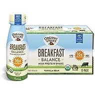 Organic Valley Breakfast Balance, Organic Milk Protein Shake, Vanilla Bean, 11 Ounces (Pack of 12) (Packaging May Vary)