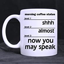 Novelty Design 11oz Funny Coffee Measuring Mug - Shhh Almost Now You May Speak Theme White Ceramic Coffee Mugs Cup - Top Quality