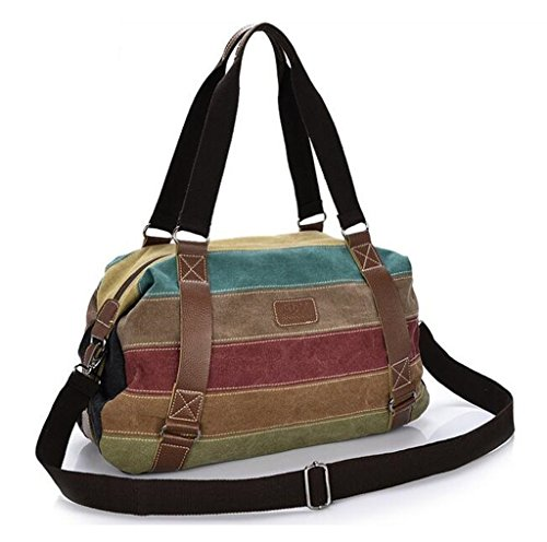 Simple Color Block Women Canvas Shoulder Bag - 2