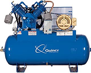 product image for Quincy Compressor QP Pressure Lubricated Reciprocating Air Compressor - 15 HP, 200/208 Volt 3 Phase, 120 Gallon Horizontal, Model Number 3153DS12HCA20