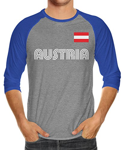 Blue Heather T-shirt Royal Raglan (SpiritForged Apparel Austria Soccer Jersey Unisex 3/4 Raglan Shirt, Royal/Heather XL)
