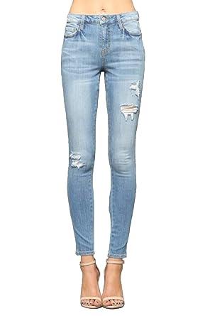 d24e26daf2f654 Vervet Jeans Citrus Blue High Rise Distressed Ankle Skinny (29, Citrus Blue)  at Amazon Women's Jeans store