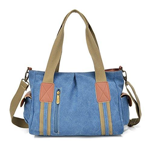 mefly algodón) Student Canvas Bag solo hombro, negro azul