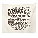 Breezat Tapestry Religion Bible Typographic Where Your Treasure Is There Heart Will Be Also Jesus Home Decor Wall Hanging for Living Room Bedroom Dorm 50x60 Inches