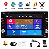 Double Din Car Stereo GPS Navigation for Car 6.2 Inch Touch Screen Car DVD Player with Bluetooth in Dash Head Unit Car Radio Receiver Support Steering Wheel Control&Rear View Camera&AM FM RDS
