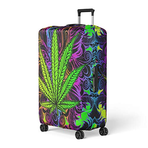 Semtomn Luggage Cover Cannabis Leaf Marijuana Herb Weed Ganja Illicit Narcotic Illegal Travel Suitcase Cover Protector Baggage Case Fits 22-24 Inch ()