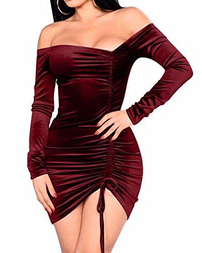 Velours Sexy Des Femmes Adogirl Froncé À Manches Longues De L'épaule Mini Robe Moulante Rouge Vin