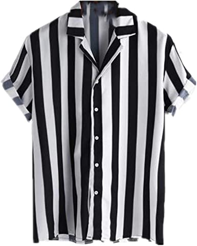 NOBRAND Casual Hombres Rayas Camisa Transpirable Suelto ...