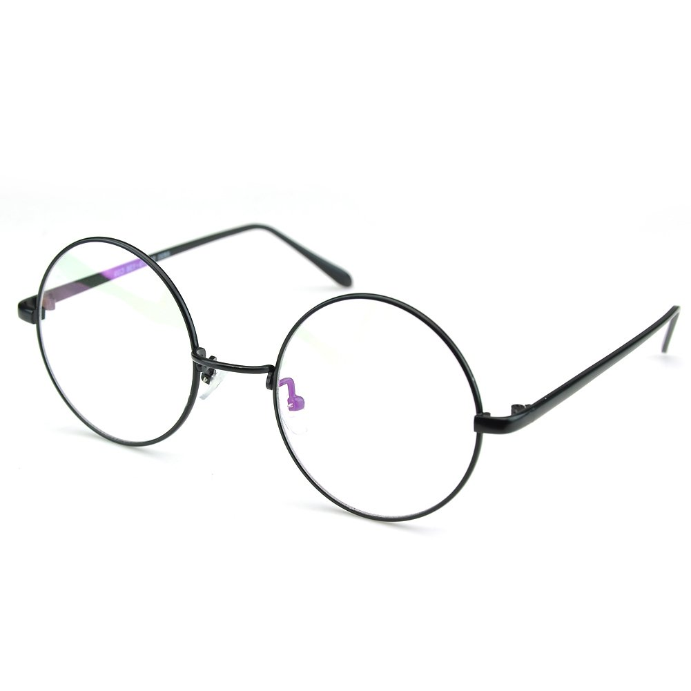 ffb064a4128 Amazon.com  PenSee Circle Oversized Metal Eyeglasses Frame Inspired Horned  Rim Clear Lens Glasses (Black)  Clothing